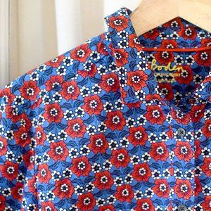 Boden Red & Blue Floral Button Down Shirt Retro Pa